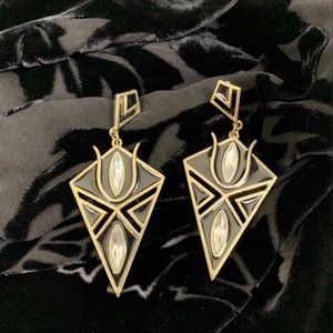 Vintage 80s Art Deco Earrings Black Gold